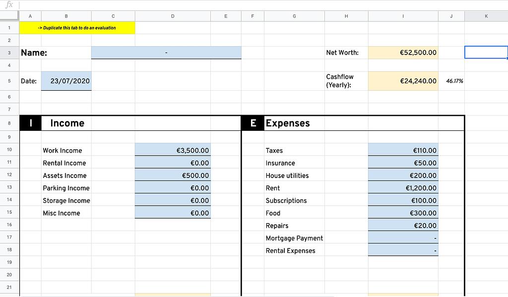 Screenshot of Net Worth Cashflow Calculator on Google Sheets